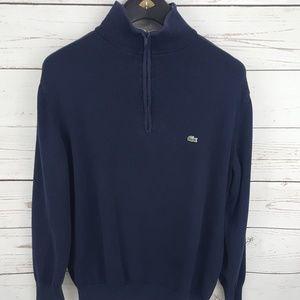 Lacoste mens pullover sweater 1/4 zip mock neck